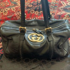 Gucci Britt Boston Black Leather Tote Bag